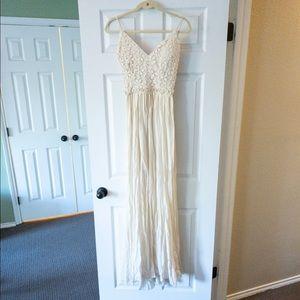 Marineblu Cream Maxi Dress with Lace